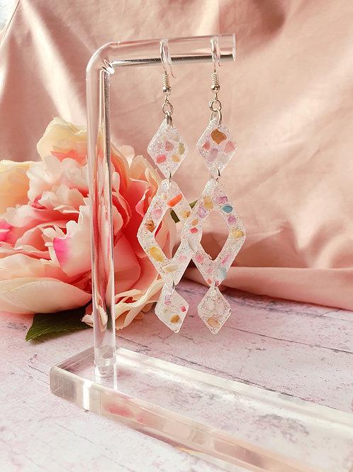 Little stones amd glitter dangle earrings