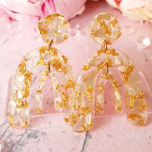 Gold and shell double arch earrings - hypoallergenic