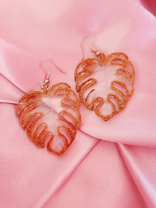 Monstera Leaves Dangle Bronze Glitter earrings