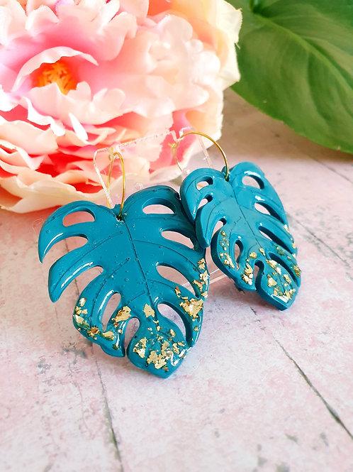 Teal and Golden leaf Monstera hoop earrings
