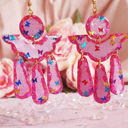 Butterfly Signature Earrings - pearl effect