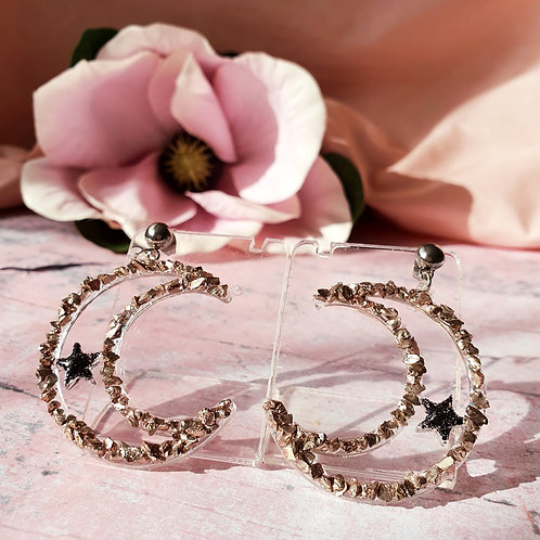 Light Gold and Black Moon Dangles
