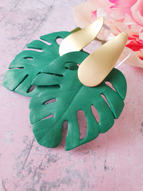 Green Monstera Plant earrings