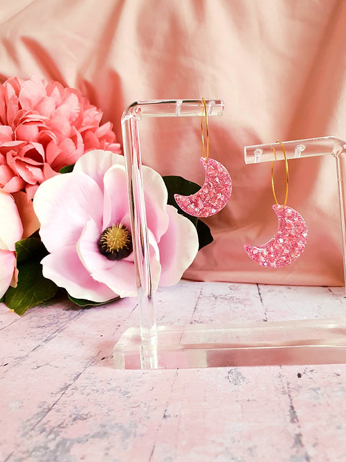 Pink druzy Moon hoop earrings