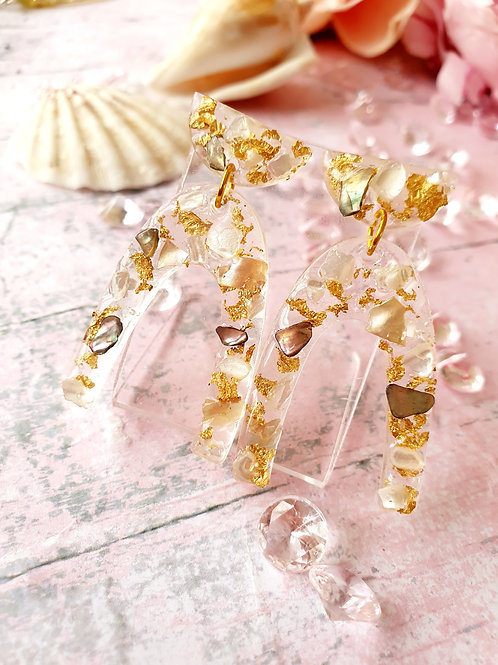 Single Arch Earrings extra decorated - hypoallergenic