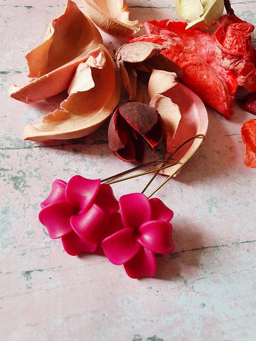 Hot pink tropical flower long hoop earrings