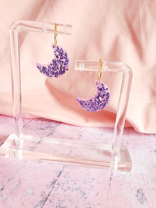 Liliac druzy Moon hoop earrings