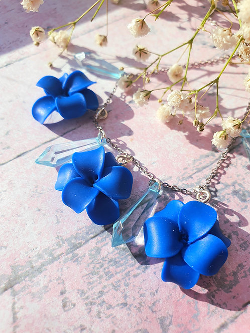 Royal Blue Flower and Crystal necklace - all handmade