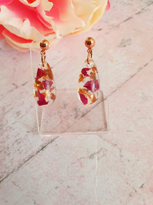 Real rose petals with rose gold leaf - dangle earrings
