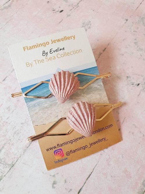 Set of 2 hair pins - pearl effect pink seashells