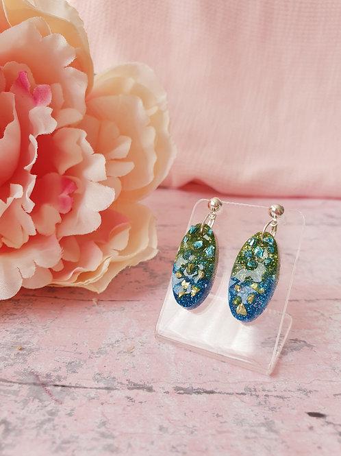 Block colour druzy dangle earrings
