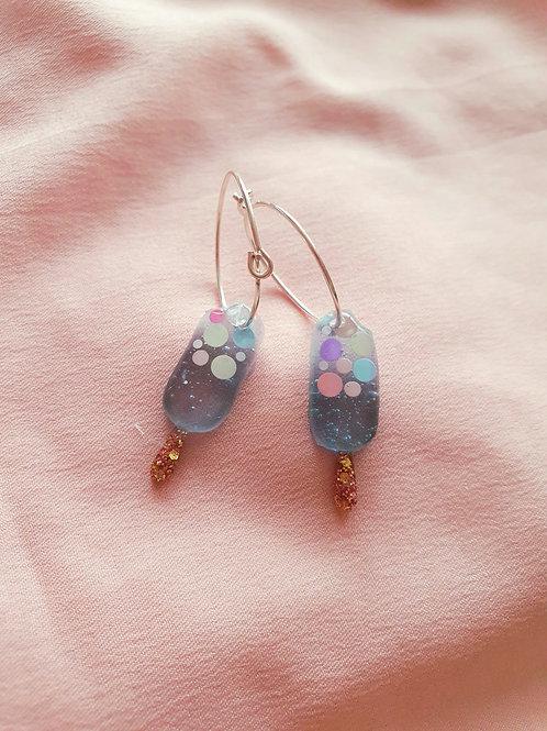 Blue glitter ice lolly hoop earrings