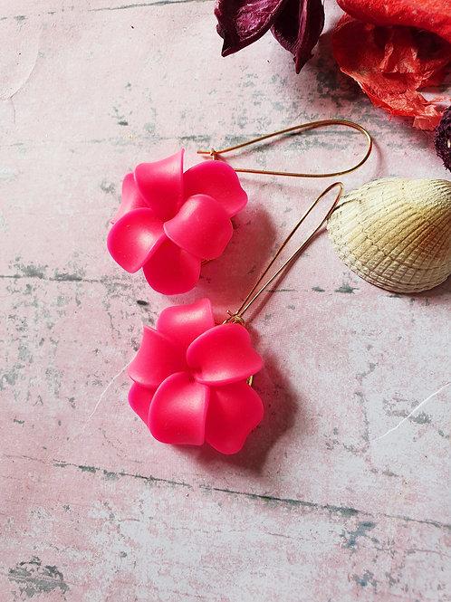Neon big flower long hoop earrings