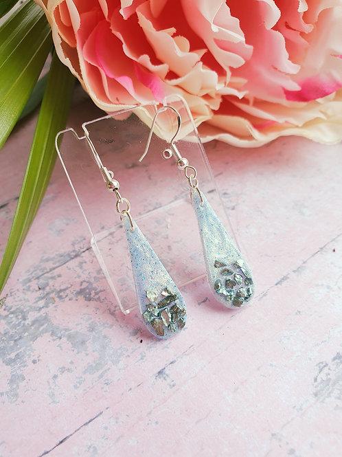 925 Sterling Silver - Pastel teal sparkly teardrop earrings