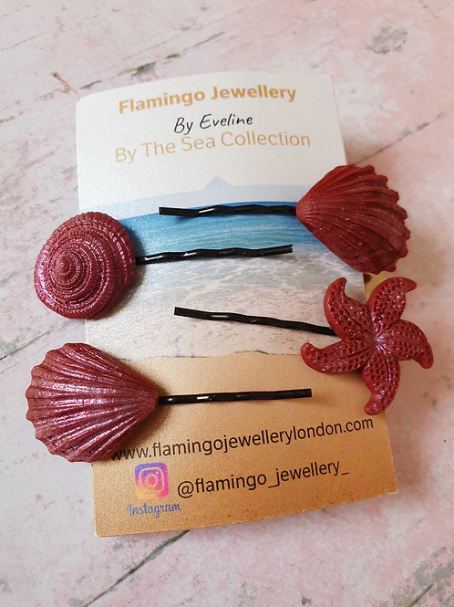 Set of 4 seashell hair pins in black and bronze
