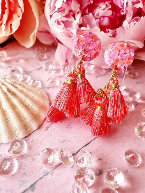 Pink rose tassel earrings - hypoallergenic