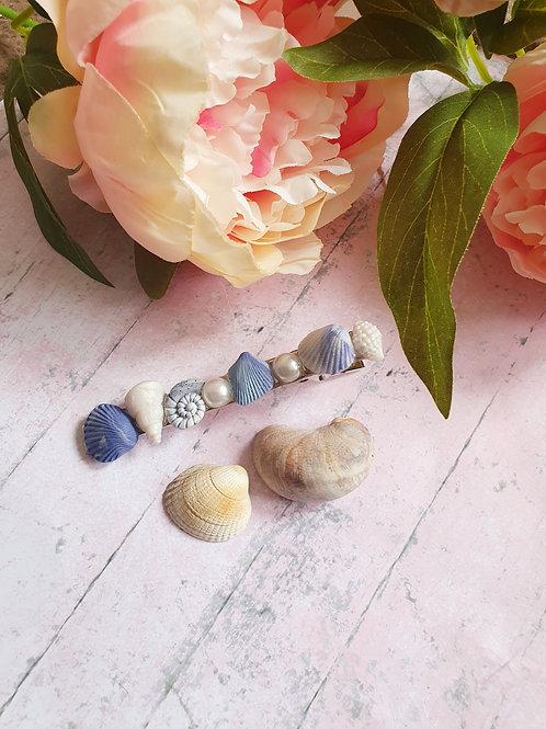 Pearl and seashell hair clip - long