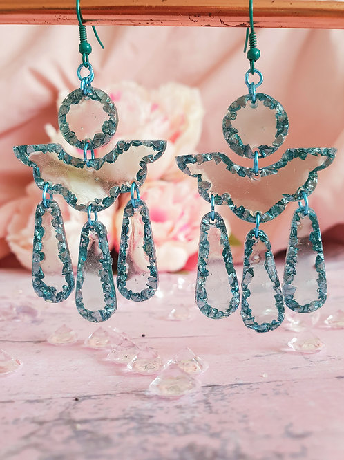Signature Teal Earrings - sparkly stones with green transparent effect