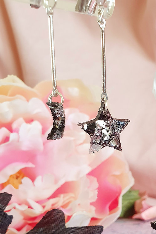 Silver Star and Moon glitter earrings