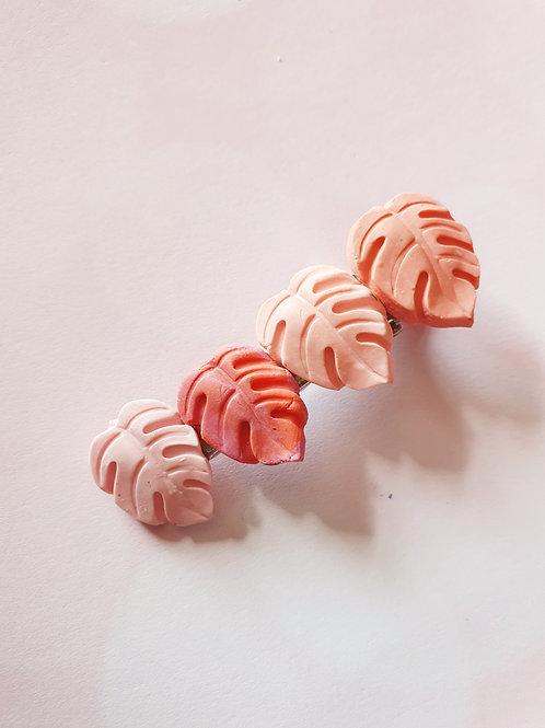 Peach monstera hair clip