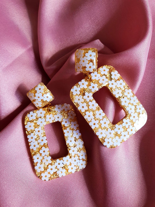 Flower gold geometric earrings