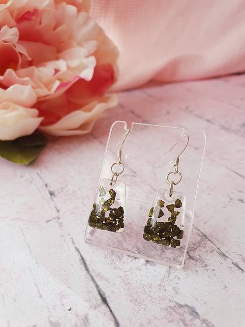 925 Sterling Silver Dark Green Earrings