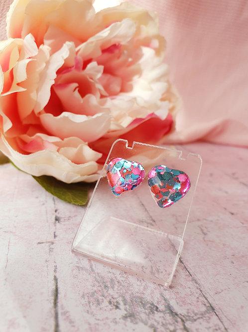 Candy glitter hear earrings - hypoallergenic