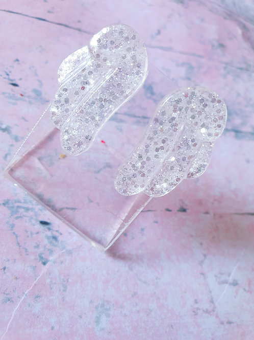 Glitter resin angel wings ear studs - hypoallergenic