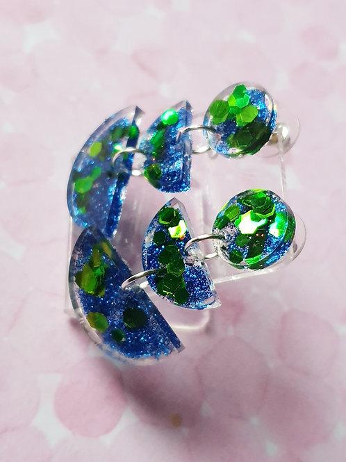 Blue and green glitter dangles