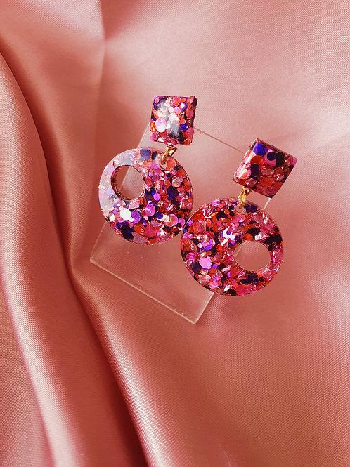 Joanna Earrings in glitter pink purple