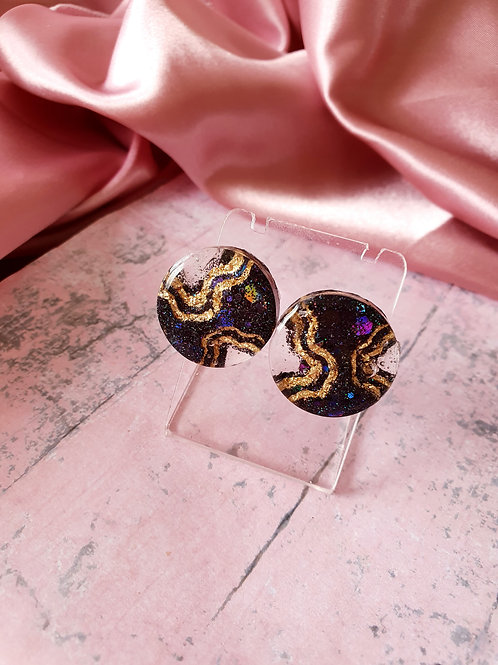Black holographic glitter and gold foil leaf cascade earstuds - hypoallergenic