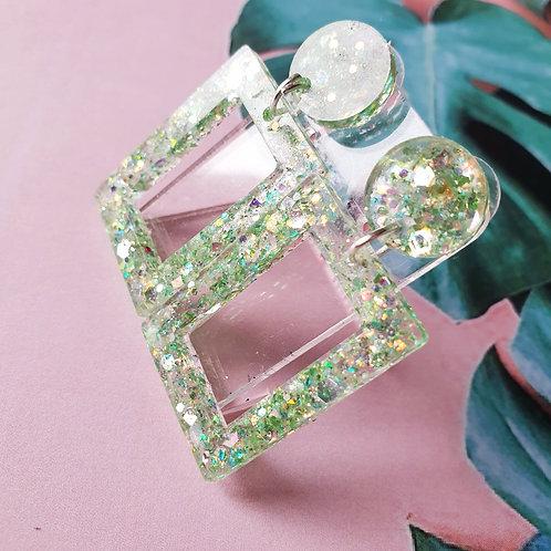 Green glitter dangles - hypoallergenic
