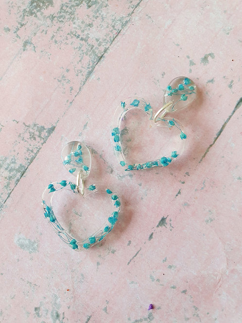 Blue flower heart earrings - hypoallergenic