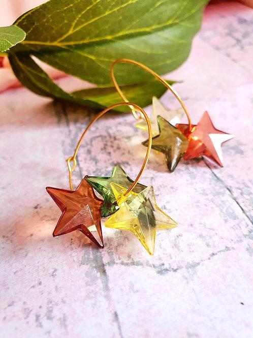 Stars Hoop Earrings - botanical colours