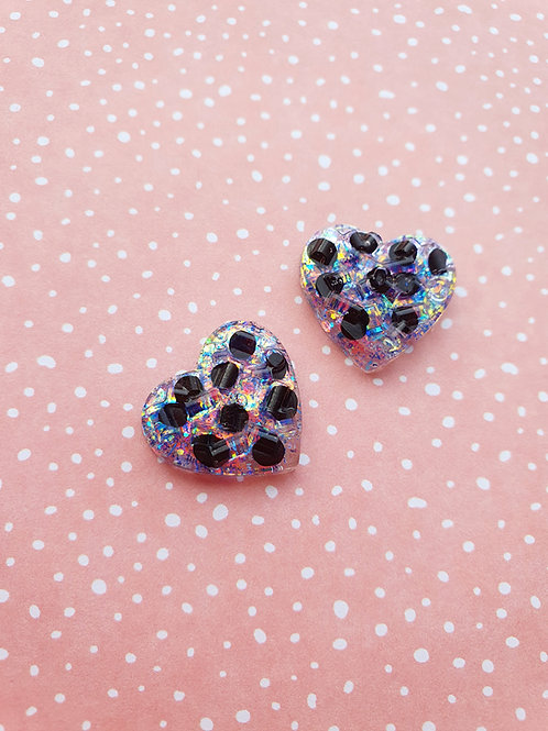 Polka Dots Earrings - holographic liliac glitter