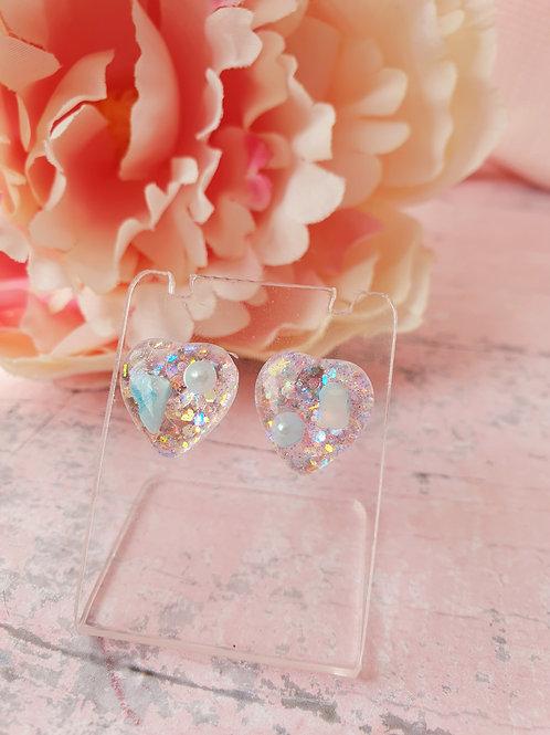 Blue pearl and little stones Heart Earrings - hypoallergenic