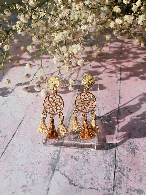 Dream Catcher Earrings - beige/brown - hypoallergenic