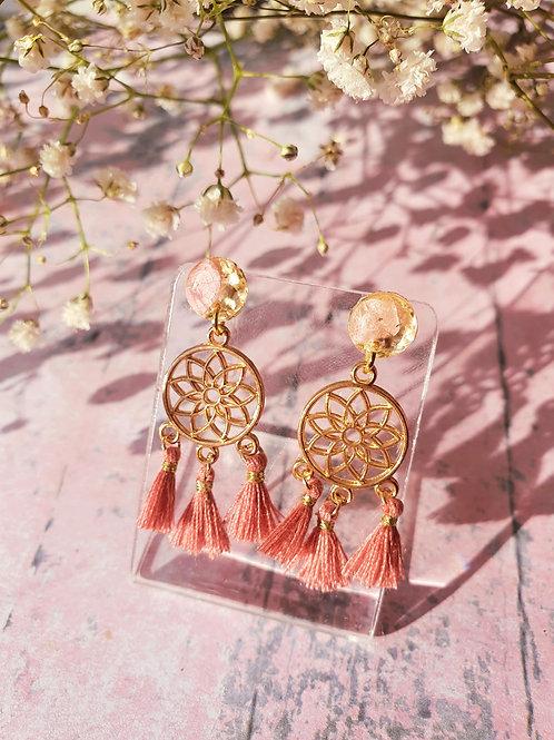 Dream Catcher Earrings - mauve pink - hypoallergenic