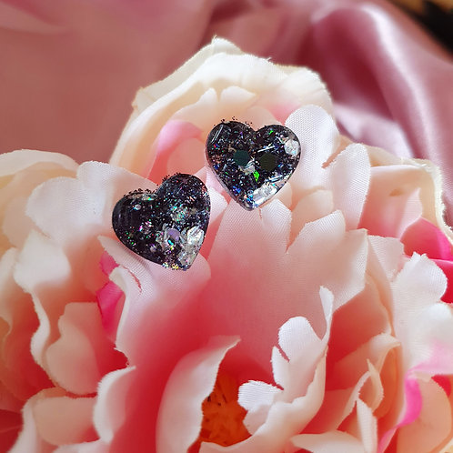 Heart Studs - black with silver bits