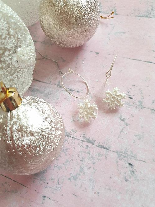 Snowflake hoop earrings