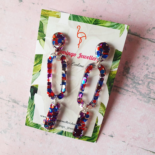 Red Blue Pink Glitter Dangles