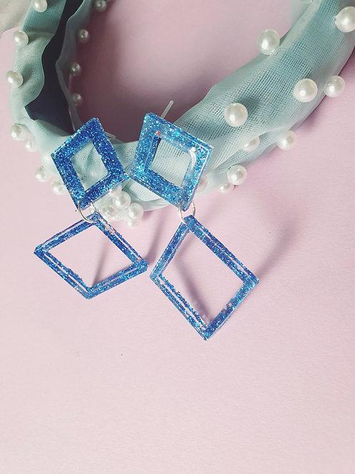 Blue glitter geometric dangles - hypoallergenic