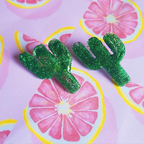 Glitter Resin Cactus Ear Studs