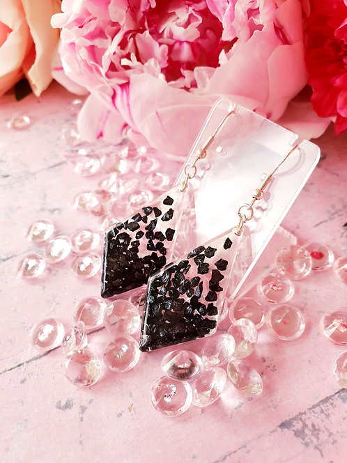 925 Sterling Silver Sparkly black glass earrings