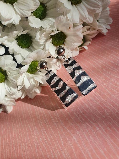Zebra dangle earrings
