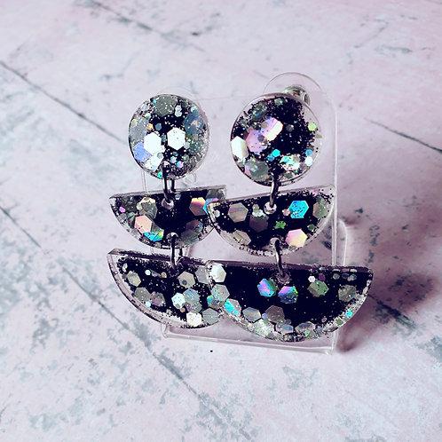 Black and silver glitter dangles