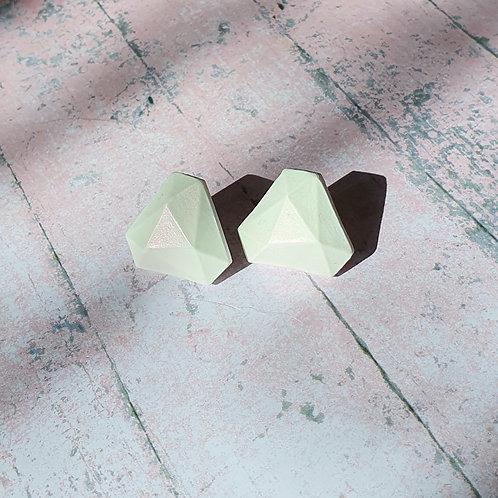 White pearl effect diamond shape earrings - hypoallergenic