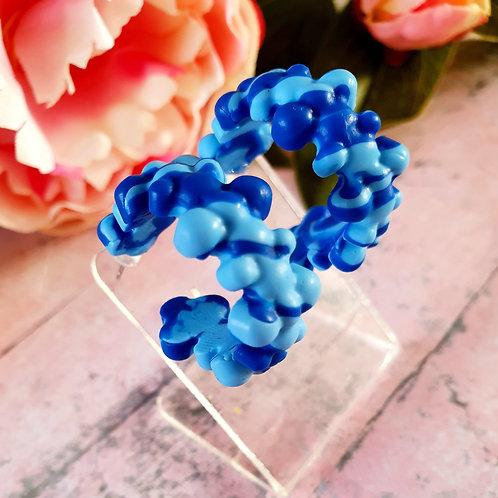 Blue mix bubble hoop earrings - hypoallergenic