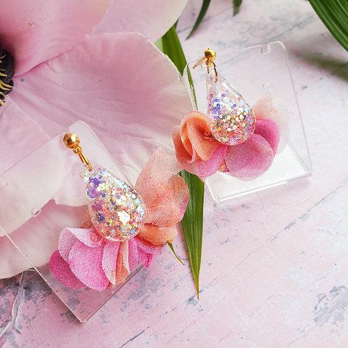 Pink Glitter Fabric Tassels in pink/orange