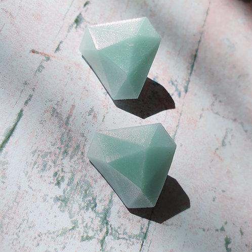 Light blue gemstone effect diamond earstuds - hypoallergenic